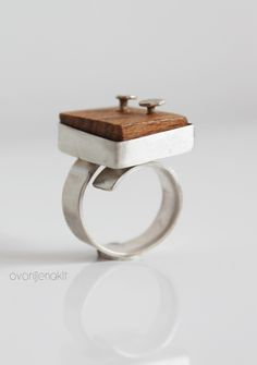 Adjustable wood silver ring. Unique cool ring. Handcrafted  sterling silver jewelry. Contemporary and unusual jewelry.