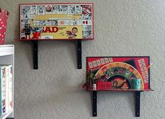 Old board games are good for something! Turn them into DIY shelves to display small knickknacks