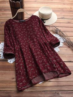 Buy fashion tops for women at Banggood online store. Shop our huge selection of cheap womens tops and lace tops from the best brands. High quality women's tops with wholesale price. Plus Size Blouses, Plus Size Tops, Blouse Bleu Marine, Cotton Blouses, Blouse Styles, Printed Blouse, Printed Cotton, Types Of Sleeves, Latest Fashion Trends