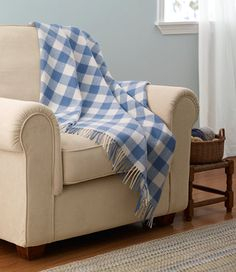 Bean's Washable Wool Throw, Plaid: Throws | Free Shipping at L.L.Bean $89 in Bay Blue Check