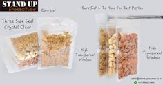 We provide #stock and #custom options for our #threesideseal pouches. We produce these bags in a combination of #transparentbags, #whitepaper, #brownpaper, #highbarrierpackaging nylon can be used.