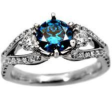Blue diamond round cut engagement ring
