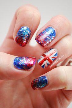 British Flag by Sarah Lou Nails nail art Union Jack Nails, One Direction Nails, Bridesmaids Nails, Finger Painting, Professional Nails, All Things Beauty, Beauty Tips, War Paint, Blue Nails