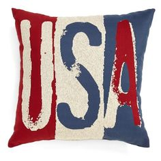 Brentwood Originals 'USA' Accent Pillow ($17) ❤ liked on Polyvore featuring home, home decor, throw pillows, pillows, multi, red toss pillows, red accent pillows, red home decor, square throw pillows and red white and blue home decor