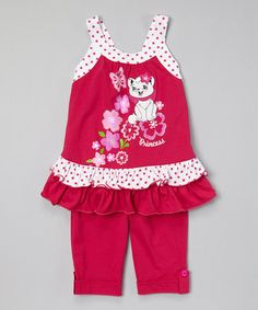 Love this G&J Relations Fuchsia Cat Ruffle Tunic & Capris - Toddler & Girls by G&J Relations on Toddler Outfits, Toddler Girls, Kids Outfits, Cute Outfits, Infant Toddler, Sewing Doll Clothes, Purple Cat, Baby Kids Clothes, Knitwear