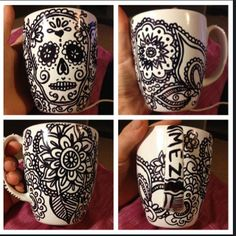 The Sharpie Baked Mug I made today :)  Sharpie marker + white mug oven at 350F or 180C  bake 30mins  rework the black lines with the sharpie marker when the mug has cooled down, then re-bake for another 30mins :)  it doesn't seem to be washing/rubbing/scratching off, so calling it a WIN for now! time will tell lol