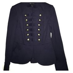 "NWOT navy military style blazer I'm pretty sure I was pregnant with the twins but didn't know it when I bought this. Needless to say I got too big too fast to wear it. From Macy's, navy military style jacket with hook eye closure up center and decorative buttons. Pockets and slight peplum for femininity. 22.5"" long and 16"" across bust. INC International Concepts Jackets & Coats Blazers"