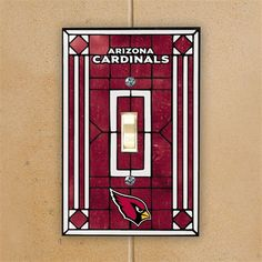 Arizona Cardinals Red Art-Glass Switch Plate Cover