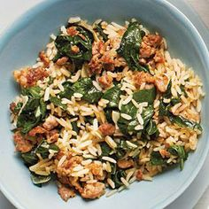 Rice Bowl This quick and easy sausage and spinach rice bowl recipe is a one-dish meal that can be ready in 10 minutes flat.This quick and easy sausage and spinach rice bowl recipe is a one-dish meal that can be ready in 10 minutes flat. Sausage Recipes, Rice Recipes, Pork Recipes, Healthy Recipes, Healthy Meals, Cream Recipes, Healthy Cooking, Easy Recipes, Healthy Food