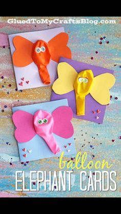 Elephant balloon birthday card idea