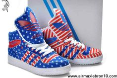 Buy Discount Adidas X Jeremy Scott American Flag Big Tongue Shoes Red Blue