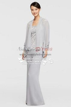 Mother of the bride pant suits Three piece Silver grey Trousers dress for Summer wedding nmo-262