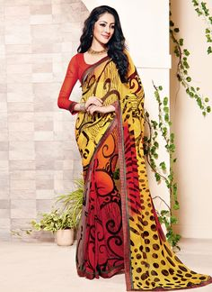 You will be confident to make a strong fashion statement with this multi colour georgette casual saree. Beautified with print work all synchronized effectively with the design and style and design of ...