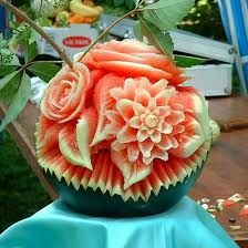 Amazing Food Carving photo, this picture was uploaded by eliyasster. Browse other Amazing Food Carving pictures and photos or upload your own with Photobucket free image and video hosting service. L'art Du Fruit, Deco Fruit, Fruit Art, Veggie Art, Fruit And Vegetable Carving, Fruits Decoration, Watermelon Flower, Watermelon Designs, Sweet Watermelon