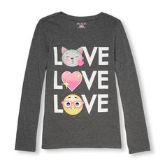 s Long Sleeve 'Love' Emoji Graphic Tee - Gray T-Shirt - The Children's Place