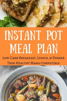 This Instant Pot menu plan is fabulous! Low carb meals with tweaks for hubbies, kids, and pregnant/nursing mamas or those who just need a tad more energy. Great for low-carb meal ideas, Trim Healthy Mamas, whole food foodies, and moms in search of healthy family meal plans. via @GracefulAbandon