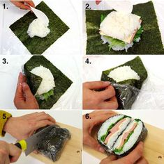 Onigirazu (Rice Sandwich) 16 Tasty Dinners You Can Make Your Family After Work Bento Recipes, Cucumber Recipes, Cooking Recipes, Healthy Recipes, Cooking Games, Sushi Sandwich, Rice Sandwich Recipe, Onigirazu, Tasty