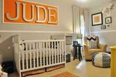 Hope, Longing, Life: Navy, Orange, and Gray Nursery - A Perfect Room for Jude!