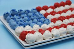 red white and blue American flag cake pops