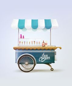 Ice Cream Cart illustration by Tibor Tovt, via Behance
