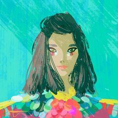 """tunabora: """" Bjork. #illustration #musicians #wecantbefriendsifyoudontknowhowcoolsheis #bjork #portrait """""""