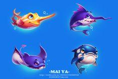 Game Icon Design, Shark Drawing, Casual Art, 2d Game Art, Werewolf Art, Shark Art, Game Concept Art, Cg Art, Mini Paintings