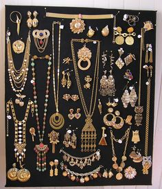 Our shop has an ever changing array of color coded jewelry boards. If you're interested in anything on the gold board, follow the pin to our Facebook page and drop us a line.