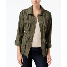 Bar Iii Leopard-Print Anorak Field Jacket, ($35) ❤ liked on Polyvore featuring outerwear, jackets, true olive combo, army jackets, army green anorak jacket, military jacket, utility jacket and olive anorak jacket