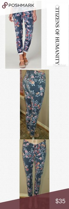 """Anthropologie COH Skinny size 25 Citizens Of Humanity Thompson Skinny jeans size 25, inseam 29"""", waist laid flat 13.5"""", rise 8.5"""". Medium rise, floral design. Great condition. First picture for reference. Anthropologie Jeans Skinny"""