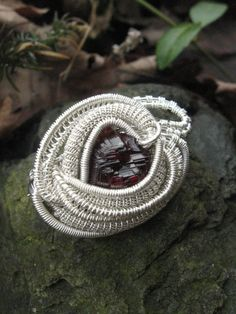 Etched Spessartine Garnet Wire Wrapped by SweetWaterSilver on
