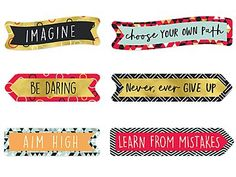 Lakeshore Aim High Motivational Mini Accents Teacher Magazine, Choose Your Own Path, Leed Certification, Job Chart, Lakeshore Learning, Aim High, American Heart Association, Motivational Messages, Classroom Themes