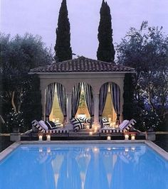 Kaleb Norman James Design saved to Outdoor SpacesPool House with black and white curtains, cushions. I want a pool so bad. I need to start saving money as I want a big pool. at least 25 meters and a deepend ah aha probably won't get it though! Big Pools, Natural Swimming Pools, Outdoor Living Areas, Outdoor Rooms, Outdoor Decor, Glass Pool, Pool Cabana, Garden Pool, Backyard Pools