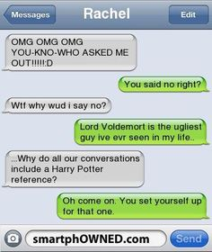 Harry Potter references are always acceptable Hogwarts, Harry Potter Jokes, Harry Potter Fandom, Golden Trio, Harry Potter References, Haha, Excuse Moi, Funny Text Messages, Mischief Managed