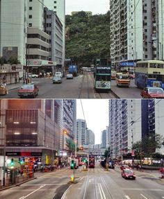 新舊對照系列.英皇道 惠安苑附近 照片由 Leung Wing Hin 製作 -------------------- 「香港海岸線填海地圖」 網站:www.oldhkphoto.com/coast