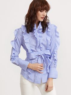 Shop Blue And White Striped Belted Ruffle Blouse online. SheIn offers Blue And White Striped Belted Ruffle Blouse & more to fit your fashionable needs.