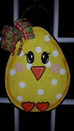 Easter decorations Hand painted burlap door by ConnieRisleyCrafts