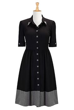 eShakti Womens Cotton jersey knit shirtdress $69.95 AT vintagedancer.com