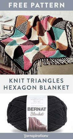 Free Knit Triangles Hexagon Blanket using Bernat Blanket yarn. Stitched in strips and seamed together, the clever construction of this plush blanket makes knitting the geometric colorwork a breeze. Each triangle is picked up off the edge of the previous triangle and knit in basic garter stitch with simple shaping for the bold, color block design.  #yarnspirations #freeknitpattern #knitblanket #hexagonblanket #bernatyarn #bernatblanket Baby Afghan Crochet, Knitted Afghans, Knitted Blankets, Baby Afghans, Baby Blankets, Knitting Patterns Free, Free Knitting, Crochet Patterns, Blanket Patterns