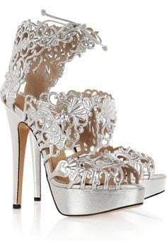 Charlotte Olympia Belinda cut out leather sandals. Fur Heels, Stiletto Heels, Black Heels, High Heels, Fashion Agency, Zanotti Heels, Clean Shoes, Fashion Heels, Charlotte Olympia