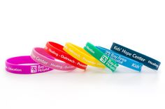 Bay Area Hospital's  Kid's Hope Center Rainbow colored silicone bracelets
