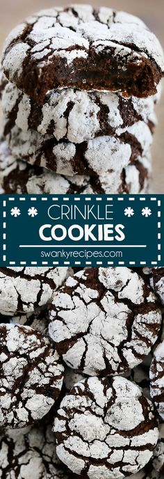 Chocolate Crinkle Cookies Chewy brownie like fudge chocolate cookies. These chocolate crinkle cookies are always the number one requested cookie during Christmas. chocolate I crinkle cookies I pixie cookies I Christmas cookies I holiday baking I cookies Keto Cookies, Fudge Cookies, Chocolate Crinkle Cookies, Chocolate Crinkles, Galletas Cookies, Holiday Cookies, Chocolate Chips, Healthy Chocolate Cookies, Healthy Christmas Cookies