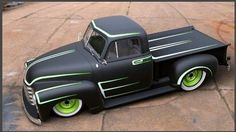Classic Chevy with matte black and line green paint job