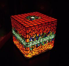 Red cube  mood lamp & box by RekredencMosaic on Etsy