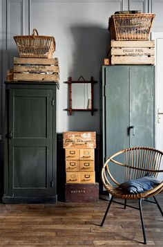 dark green cabinet and woven home furnishings / sfgirlbybay The Best of home design ideas in - Home Decoration - Interior Design Ideas Green Painted Walls, Dark Green Walls, Turbulence Deco, Rustic Apartment, Vintage Apartment, French Apartment, Bright Apartment, Green Cabinets, Dream Decor