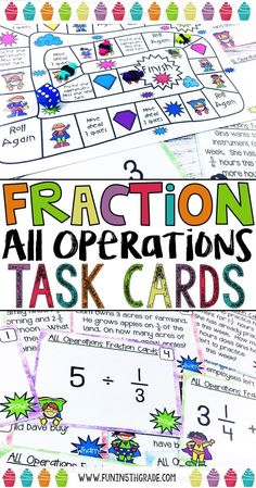 All operation fraction practice that is fun and engaging.  Use this task card set, with or without the included game board, to have your students practicing the 4 different operations with fractions.  Students will enjoy learning fractions with this activity.