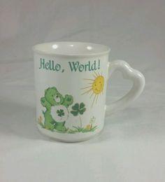 Care-Bears-Coffee-Tea-Mug-Cup-1983-Vintage-Good-Luck-Bear-Hello-World