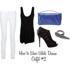 How to Wear White Denim: Outfit #2: Go black. Black and white is about as classic as it gets. While white denim might not seem like an obvious choice for a night out, it can really work with the right outfit. Finish the outfit with a fierce pair of shoes and some funky jewelry (I'm really into knuckle rings right now), and grab the clutch of your choice for a pop of color, and you've got a surprisingly edgy outfit.