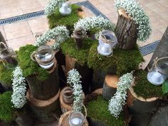 wood and gypsophila wedding decor rustic wedding