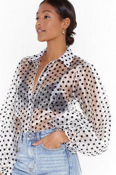 Polka Dot Print Organza Blouse with Balloon Sleeves Polka Dot Print, Polka Dots, Perfect Fall Outfit, Sheer Shirt, Cowl Neck Top, Nice Dresses, Fall Outfits, Vintage Fashion, Women's Fashion