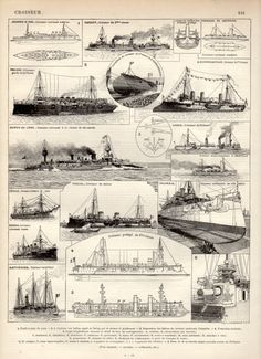 1897 Cruiser Warships Antique Print Vintage Lithograph Battleship Print Croiseur Boats Navy Poster Capital Ship Steamship Warship